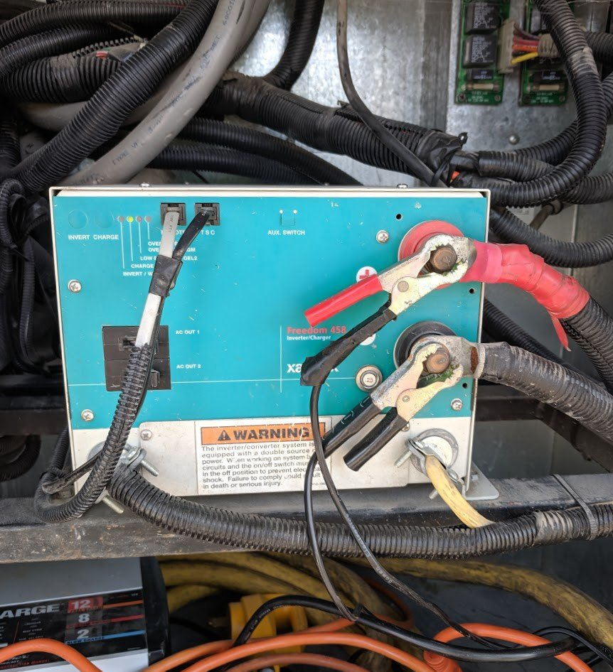 battery charger cables on an rv inverter