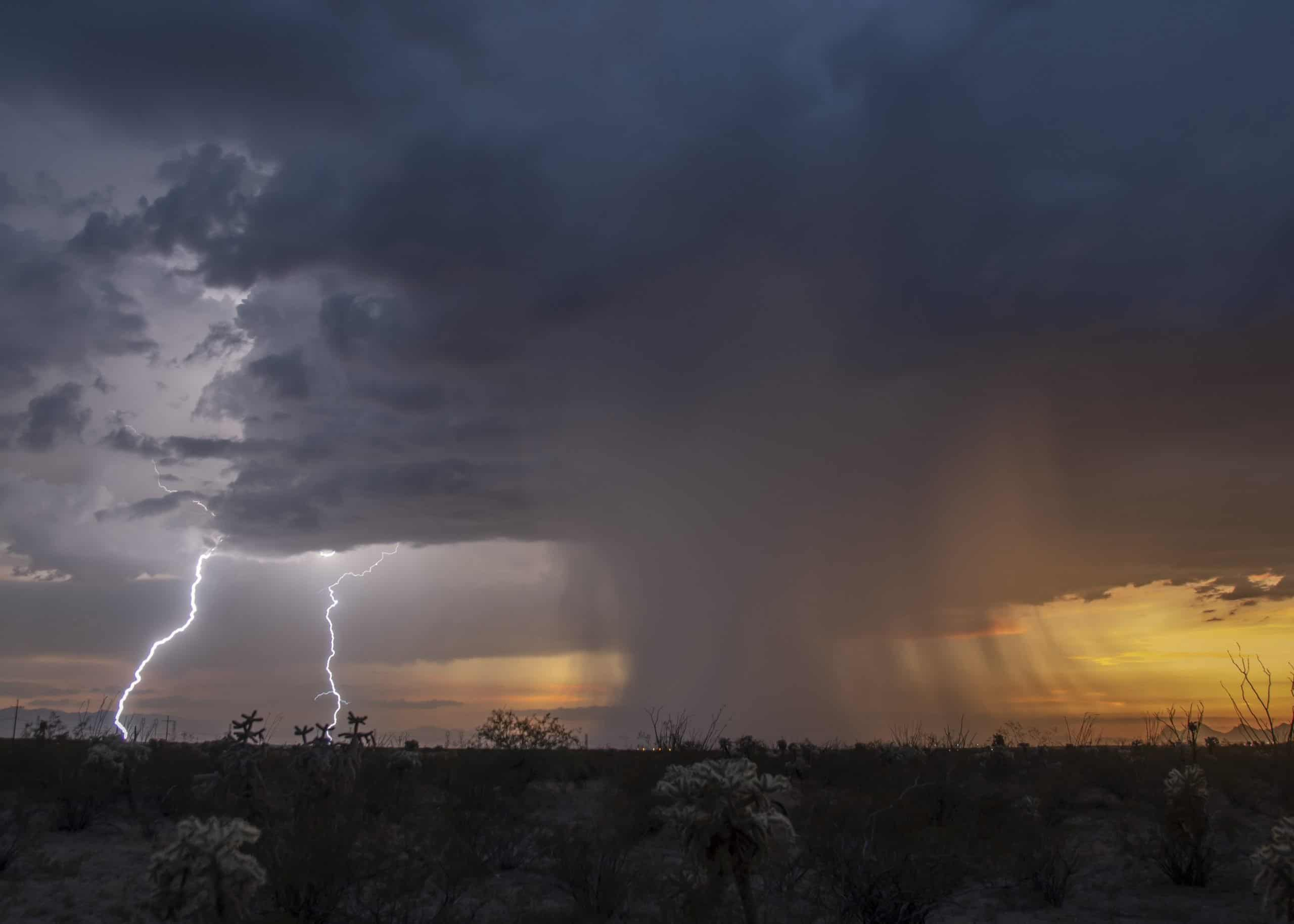 arizona monsoon thunderstorm with rain and lightning