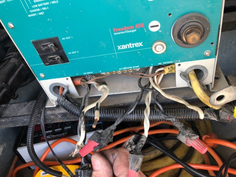 torn apart power inverter in a motorhome