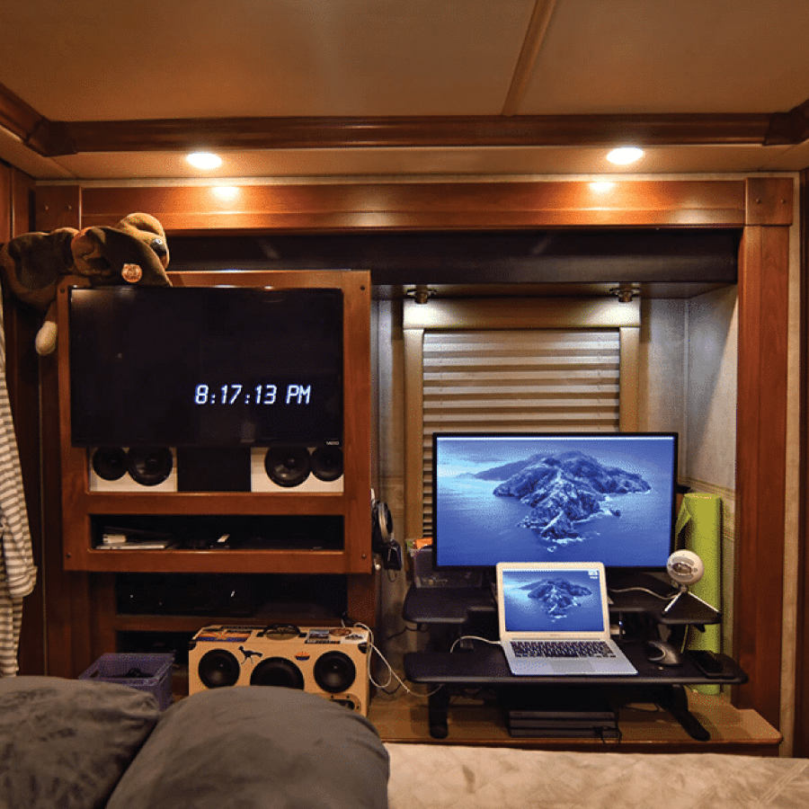 how we set up two office spaces in our rv