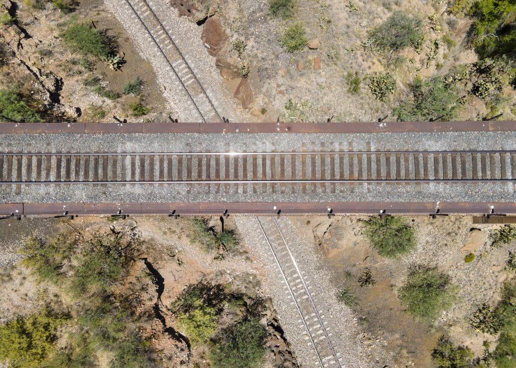 cienega train bridge crossed tracks drone photo