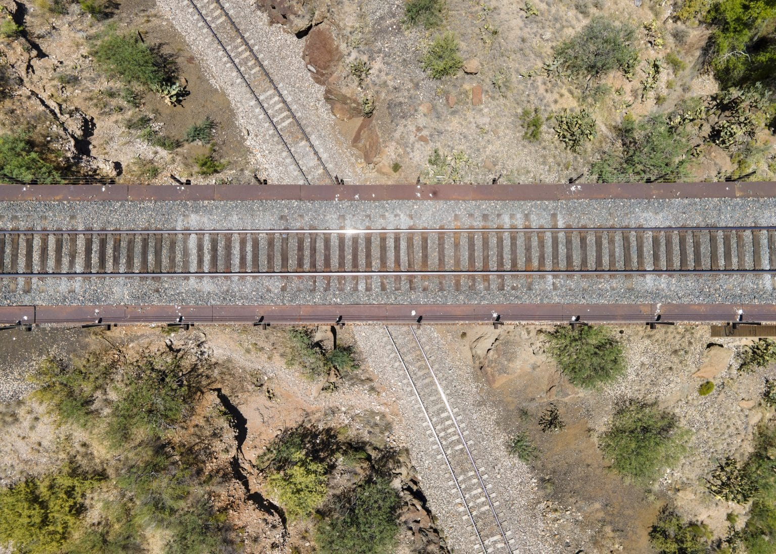 cienega train bridge crossed tracks drone photo
